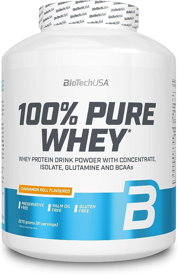 BioTechUSA 100% Pure Whey Complejo de proteína de suero, con aminoácidos añadidos y edulcorantes, sin conservantes, 2.27 kg, Roscas de canela