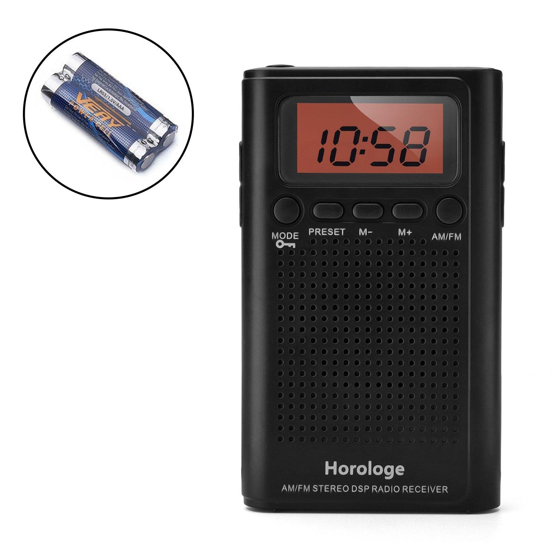 horologe am fm pocket radio portable alarm clock radio with time alarm ebay. Black Bedroom Furniture Sets. Home Design Ideas