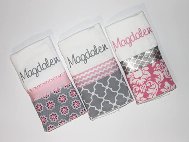 8326c3bb7 Amazon.com: 3 Personalized Baby Girl Burp Cloth Set in Pink and Gray -  Flowers, Damask and Lattice: Handmade