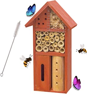 FUNPENY Wooden Insect Hotel, Natural Insect House for Butterfly, Bees and Ladybugs