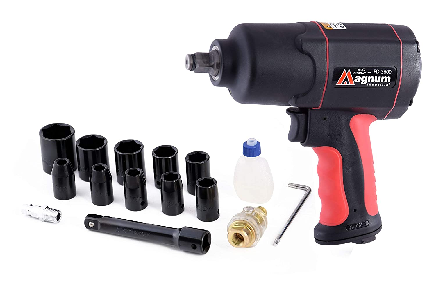 Strong 1200Nm Max Air Impact Wrench 885 ft-lb 1/2' SQ Drive Wheel + Case Nuts MAGNUM