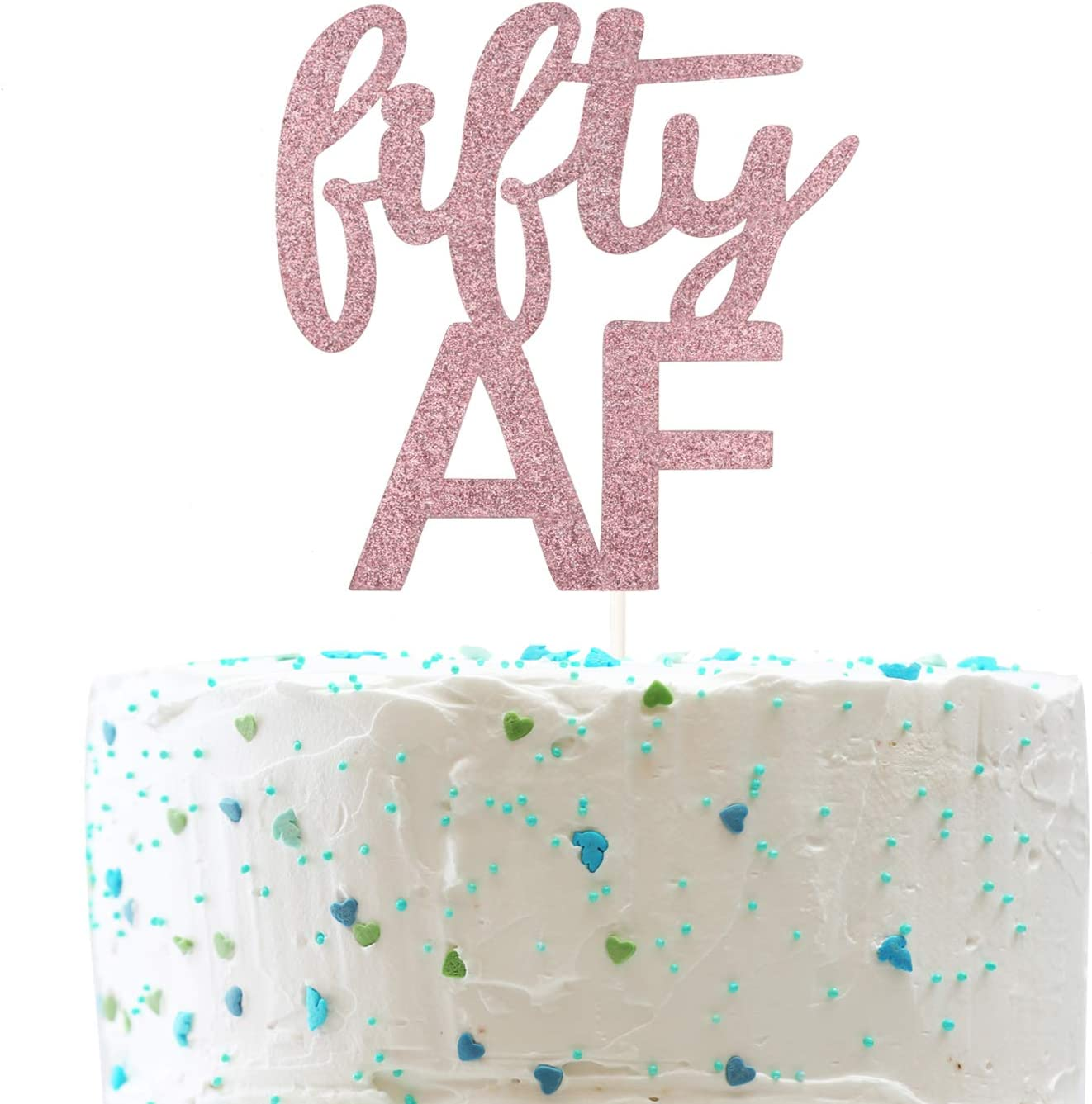 Excellent Amazon Com Fifty Af Cake Topper Funny 50Th Birthday Cheers To 50 Funny Birthday Cards Online Necthendildamsfinfo