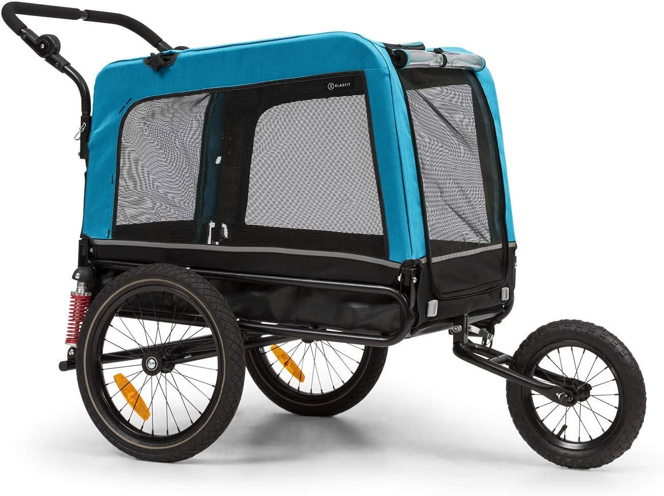 KLAR FIT Klarfit Husky Vario 2 en 1 Remolque para Perro y Silla de Paseo para Perro - Aprox. 240 litros de Volumen, Material: 600D Oxford Canvas, SmartSpace Concept, Carga máxima: 40 kg