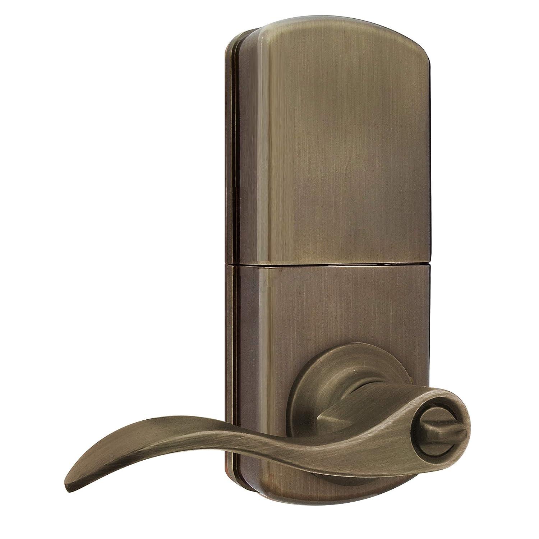 MiLocks XKL-02SN Digital Lever Handle Door Lock with Keyless Entry via Remote Control and Keypad Code for Interior Doors Satin Nickel