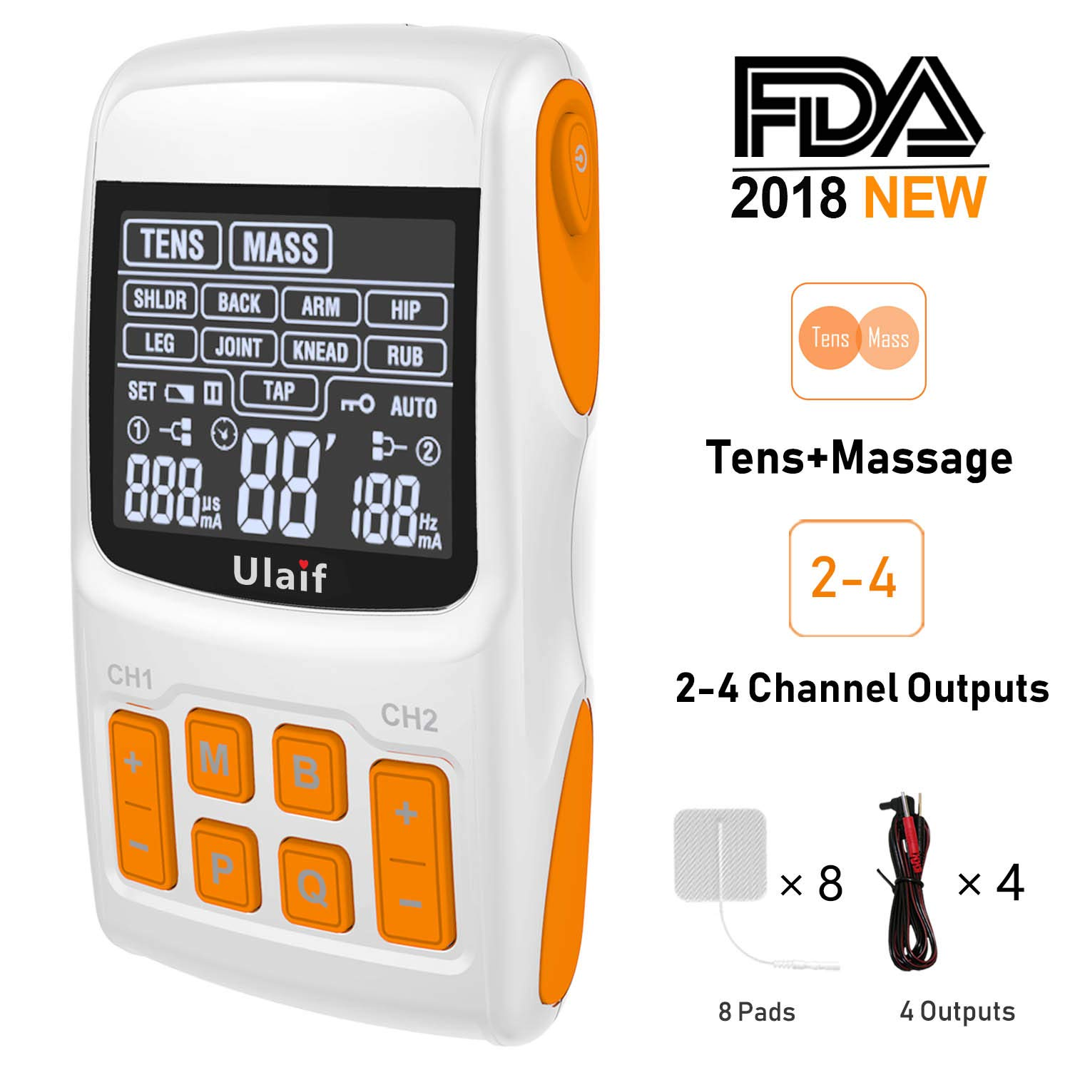 Tens Unit+Massager Combination,Ulaif 2018 New FDA Approved,Best Professional Portable 21 Modes Electronic Pulse Massager, Muscle Stimulator for Pain Relief,2-4 Channels Output,8 Long Life Pads