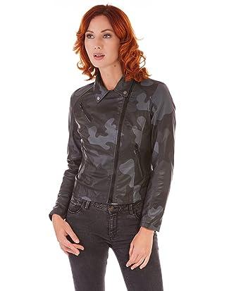 1e59d82d0036 D Arienzo - KBC • Couleur Noir Militaire • Veste en Cuir Femme Perfecto Cuir