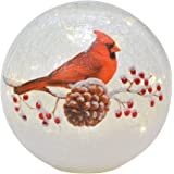 Lighted Crackle Glass Cardinal - 6 Inch Battery Operated