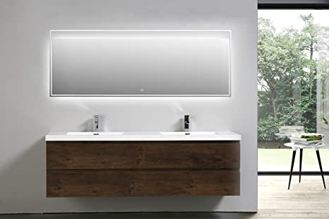 Surprising Moreno Mob Rose Wood Wall Mounted Modern Bathroom Vanity With Acrylic Sink 72 Inch Double Sink Download Free Architecture Designs Lectubocepmadebymaigaardcom