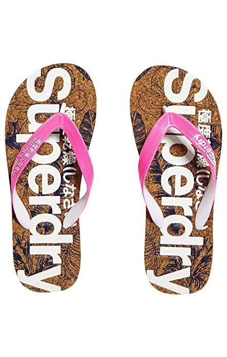 Superdry Printed Cork Flip Flop, Tongs Femme, Rose (Fluro Pink Dark Navy 151c27e28136