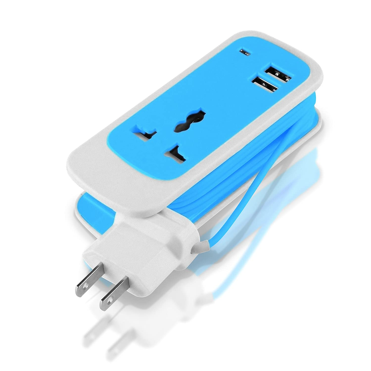 Amazon.com: 3-in-1 Portable Travel Charger Extension Cord 2-Port USB ...
