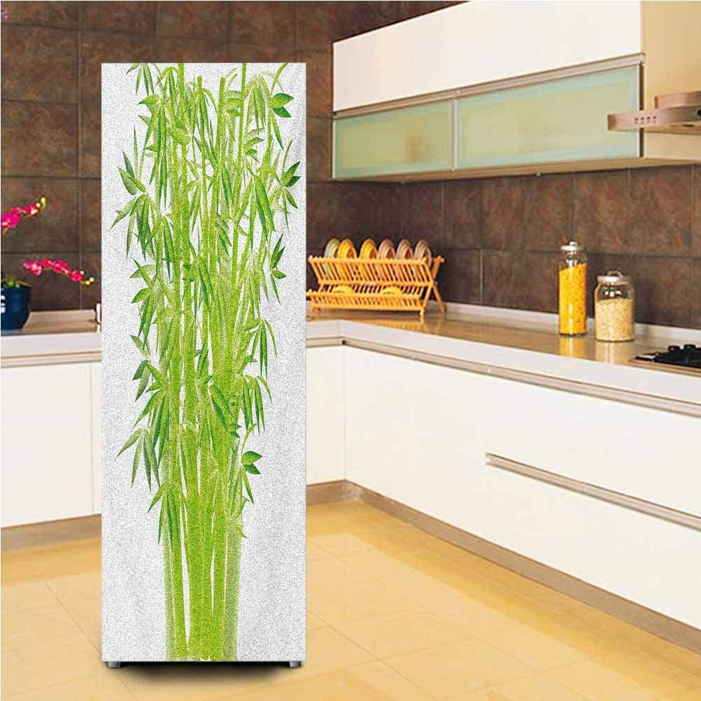 """3D Door Fridge DIY Stickers,Bamboo Stems with Leaves Spiritual Fresh Bunch Tropical Plant Eco Foliage Print Vinyl Door Cover Refrigerator Stickers,24x59"""",for Refrigerator,Lime Green"""