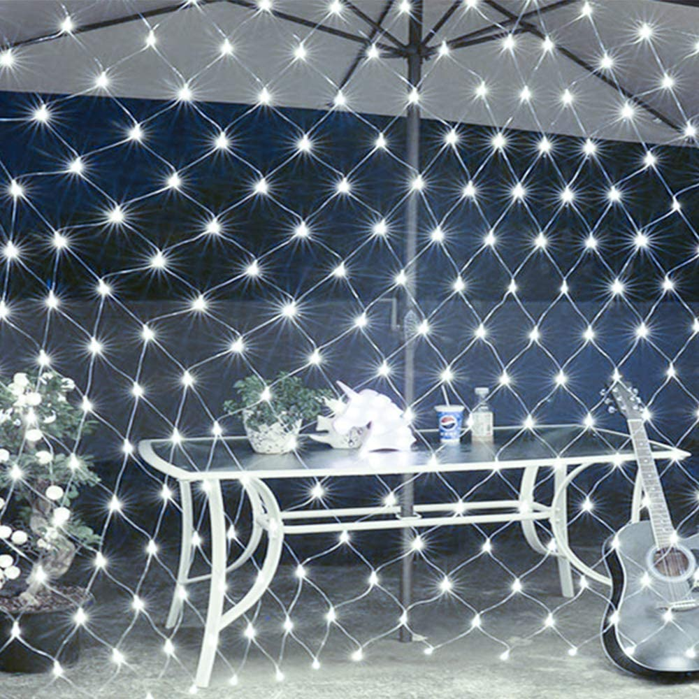 LEYOYO LED Net Lights Outdoor Mesh Lights, 8 Modes 200 Led 6.6ft x 9.8ft Christmas Net Lights for Bedroom, Christmas Trees, Bushes, Wedding, Garden, Outdoor Decorations (White)