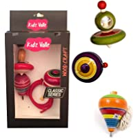 Kidz Valle Assorted Wooden Toys, Rope Top, Wing Top, Yo Yo - Age 3+ Years