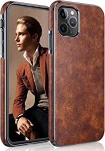 LOHASIC iPhone 11 Pro Max Case, Thin Slim Leather Luxury Business PU Soft Non-Slip Grip Full Body Shockproof Protective Phone Cover Cases for Apple iPhone 11 Pro Max (2019) 6.5 inch - Vintage Brown
