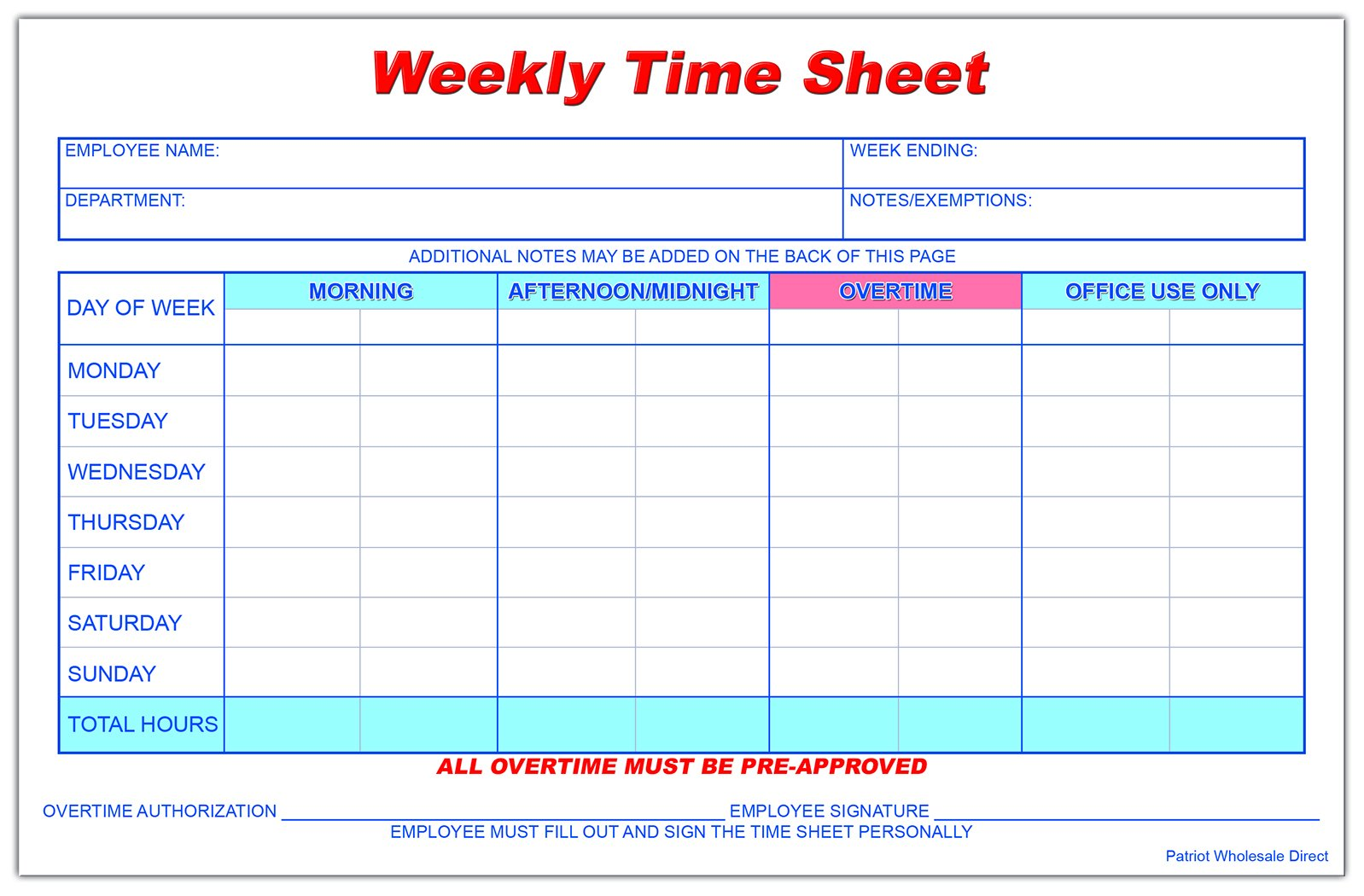 Weekly Employee Time Sheet, 8.5 x 5.5 Inches, 50 Sheets per Pad, 5 Pads/Pack (250 Total)