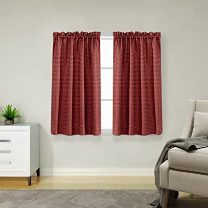 Charmant 45 Inch Long Curtains For Kitchen/Bathroom Window Curtain Set Burgundy  Waffle Weave Curtains