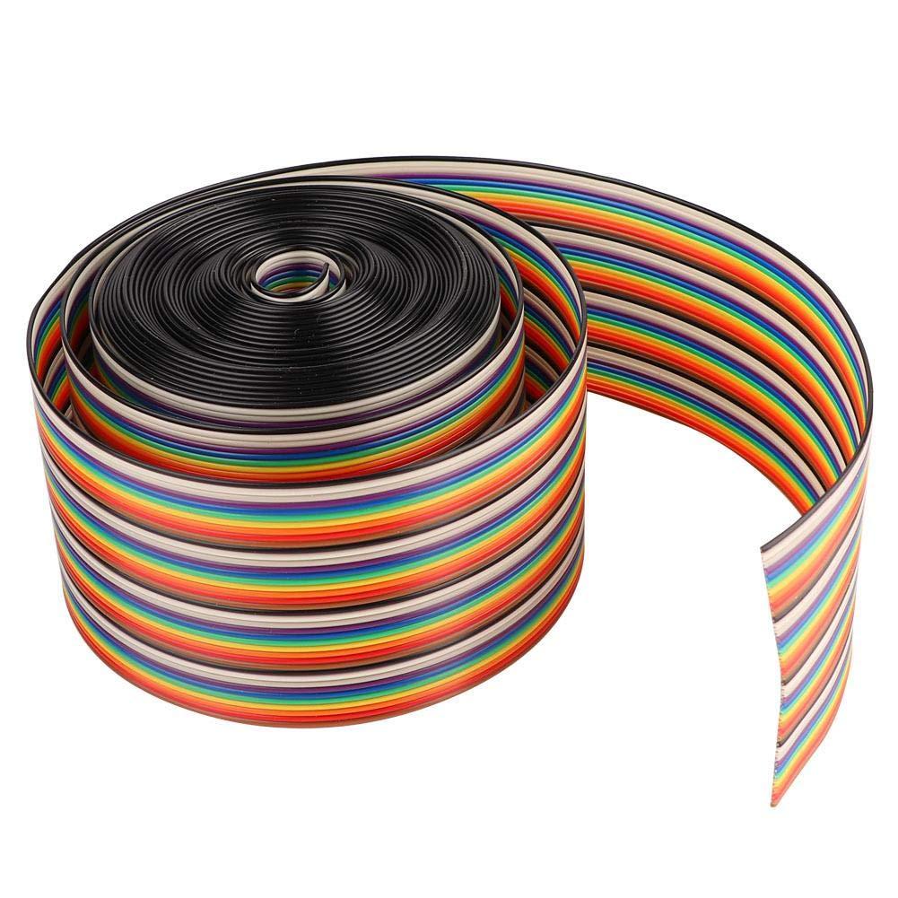 Nitrip 1.27mm de separaci/ón entre cables Cable 40P Arco iris plano Cable de cinta Cable Anchura de cable 5.08cm 4 meters