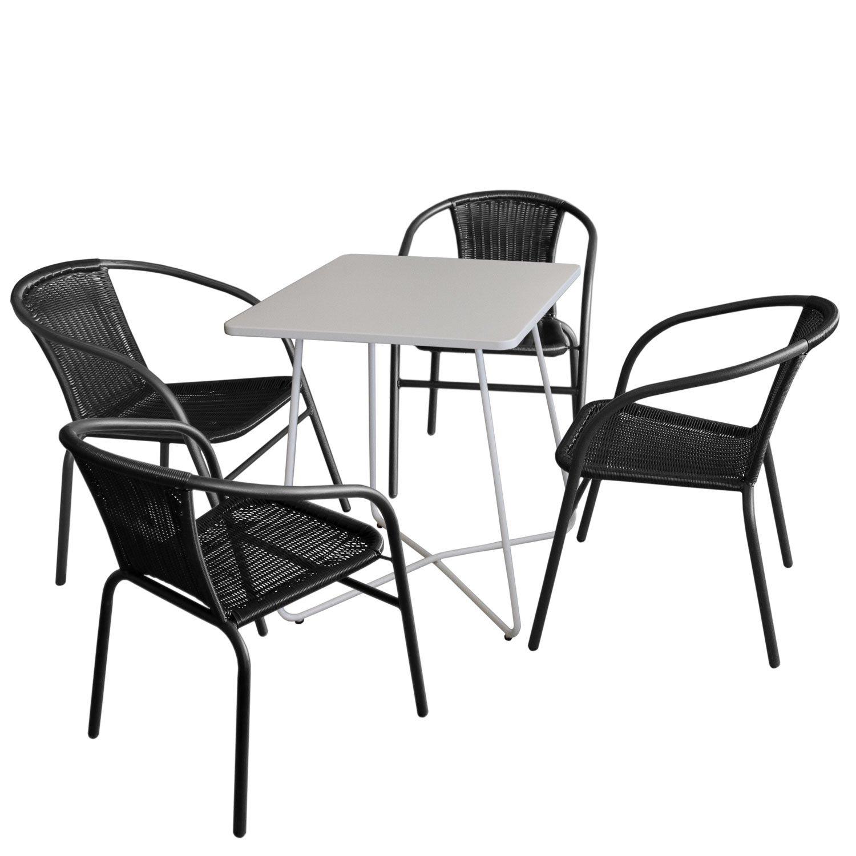 5tlg Balkonmöbel Set Bistrotisch Metall 60x60cm Weiß 4x