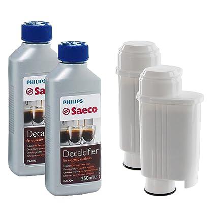 spare2sgo cartuchos de filtro de agua y Philips máquina de café Descalcificador Desincrustante Solución de líquido