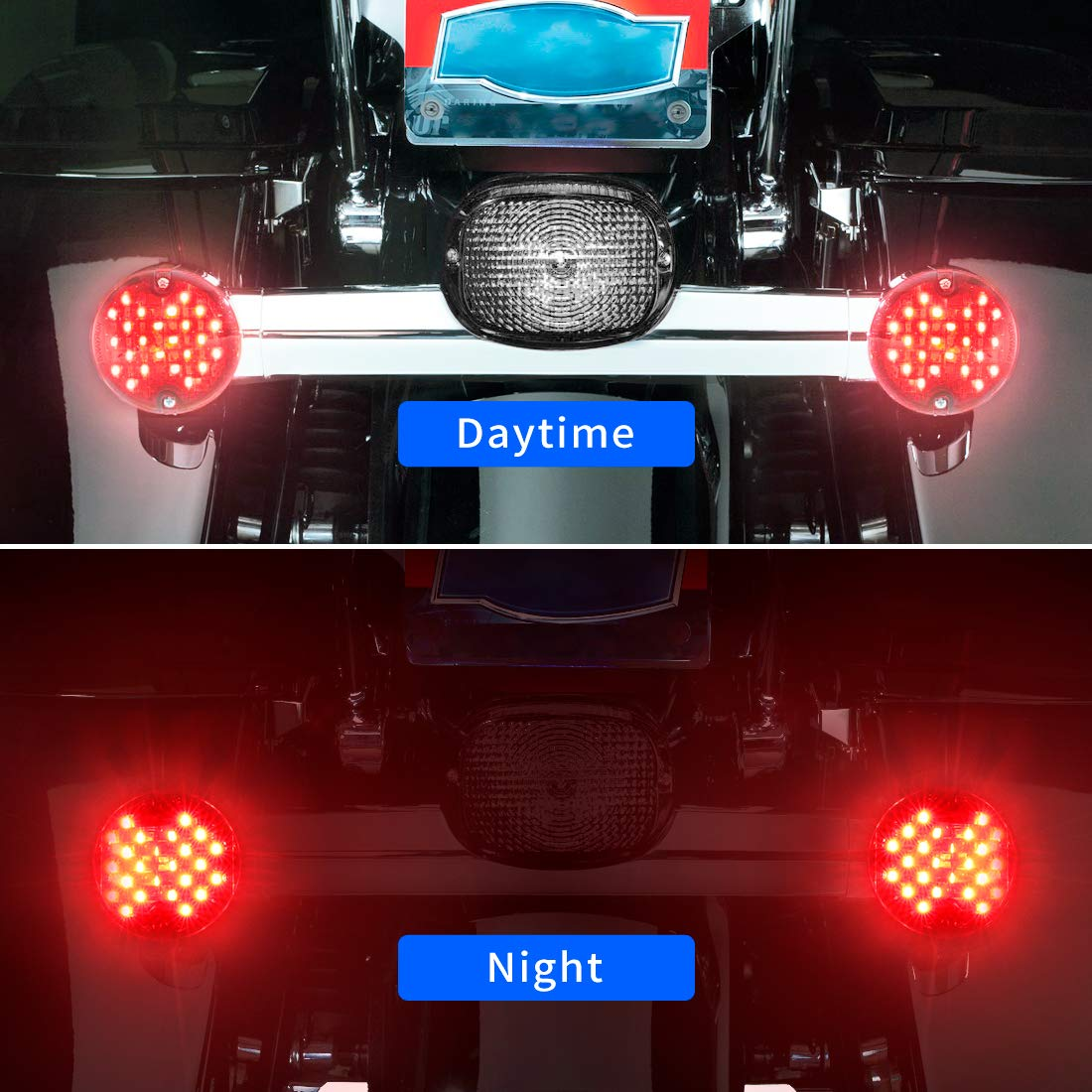 SUPAREE 2 Front LED Turn Signal Kit with White Running Lights for Harley Davidson Motorcycles 1157 Base