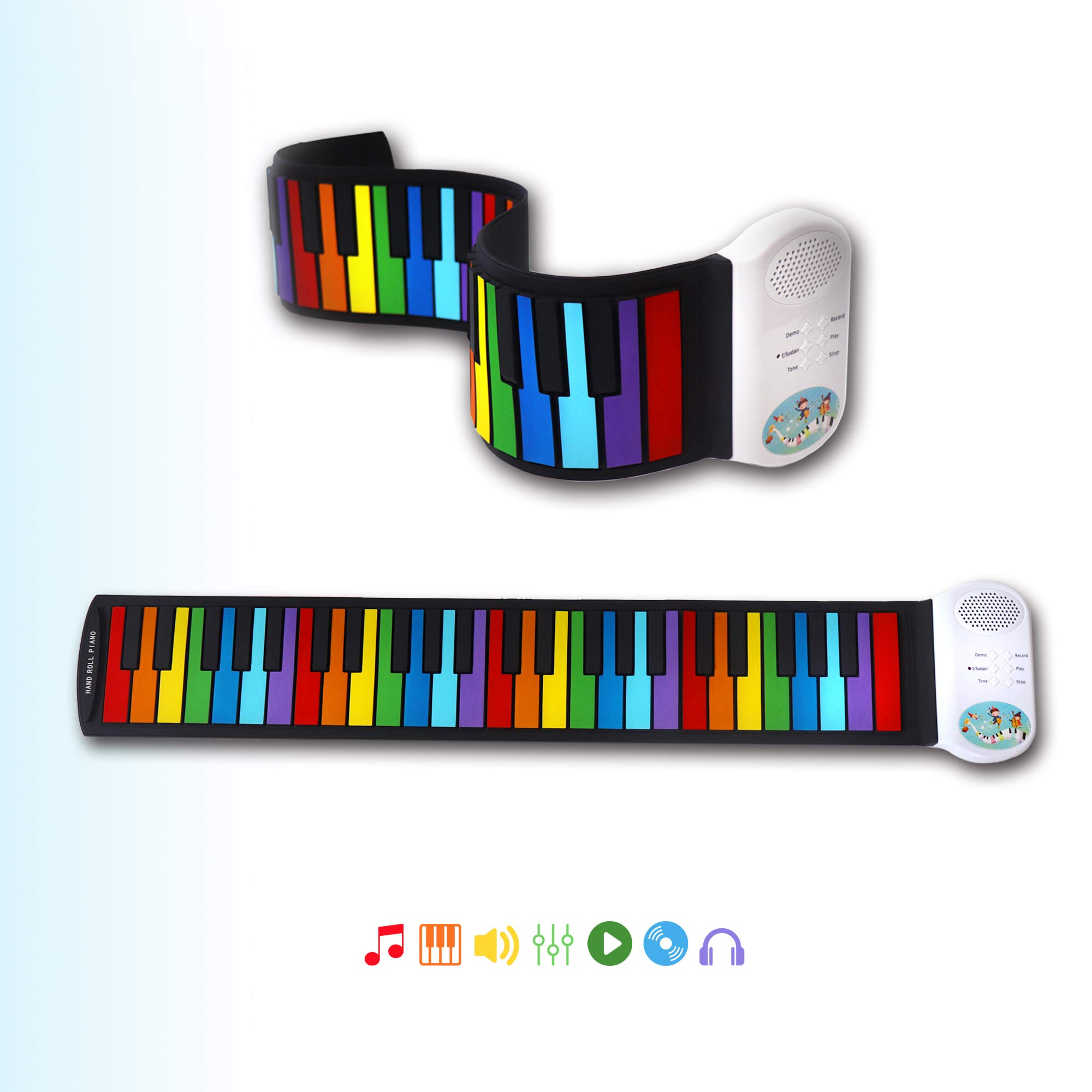 iPro Roll Up Piano,Upgraded Portable Rechargeable Electronic Hand Roll Piano with Silicone Piano Keyboard for kids (49 keys)