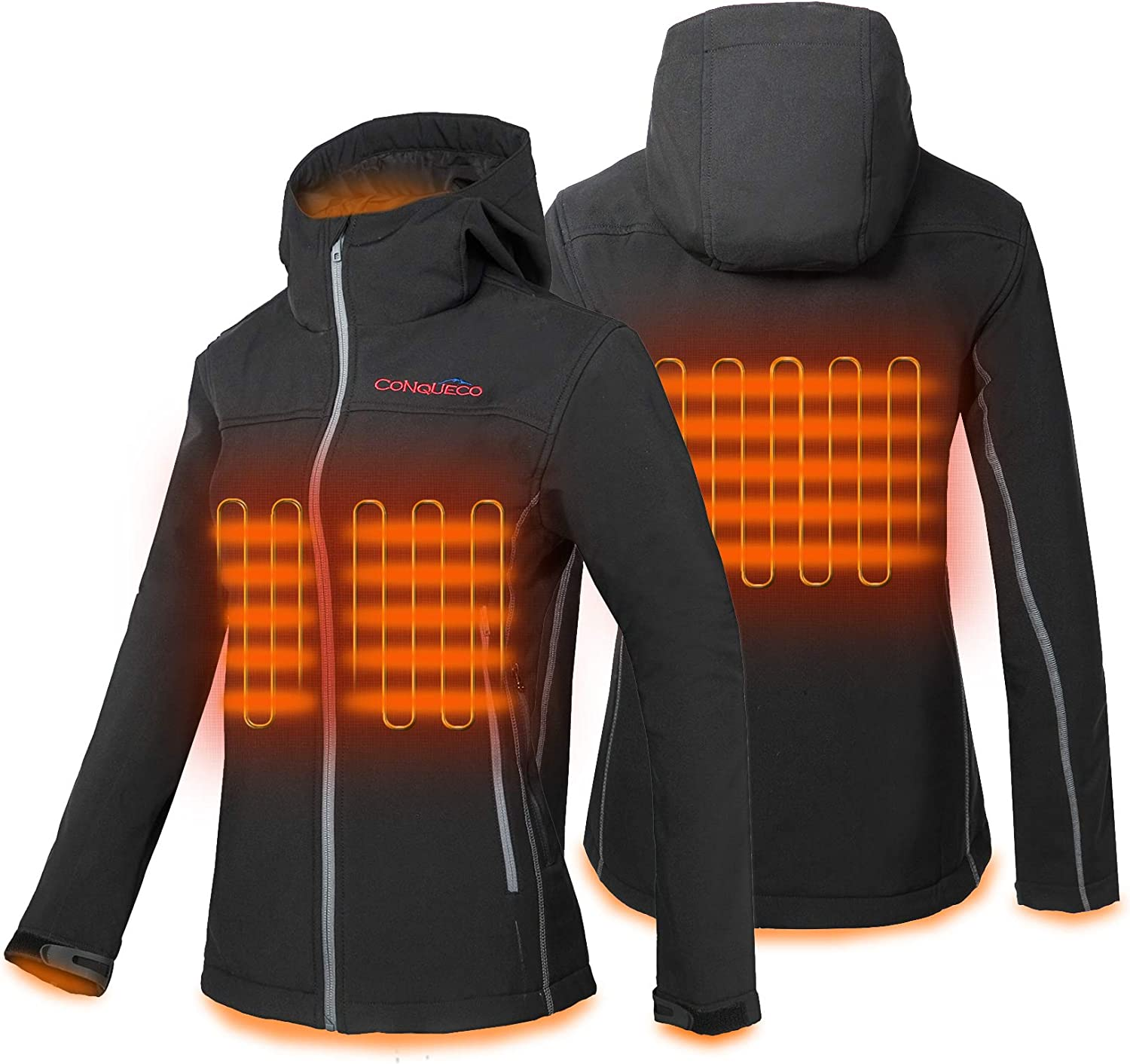 CONQUECO Women's Heated Jacket Slim Fit Electric Hoodie Jacket in Winter: Clothing