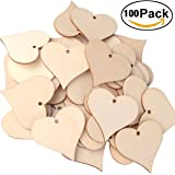 Wooden Love Heart Pieces, UTOPER Wood Art Craft Blank Name Tags with Hole for Wedding Party, Home Decoration (100Pack, 47mm)