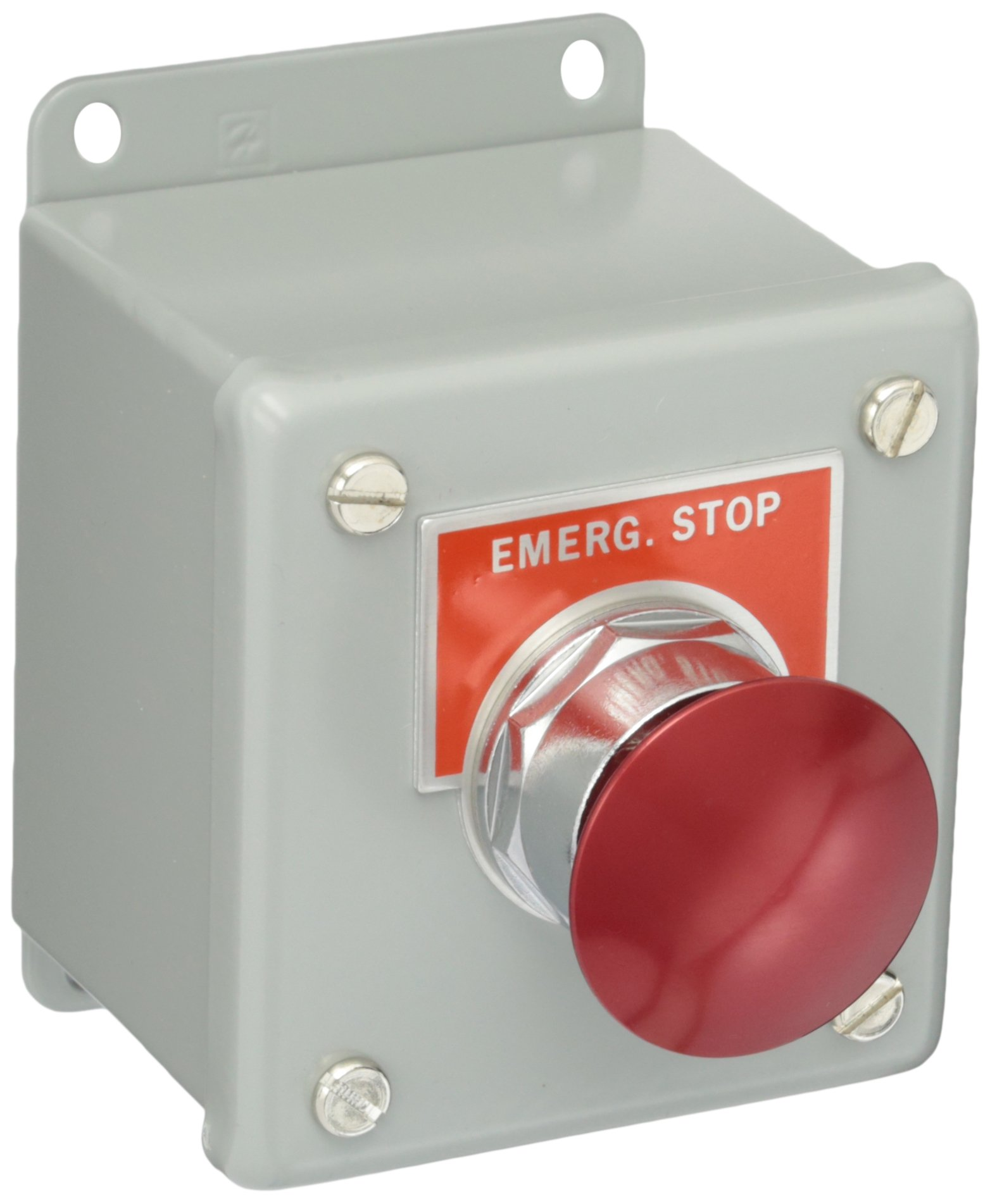 Siemens 52C117A Heavy Duty Pushbutton Control Station, Water and Oil Tight, 1 Command Point, Maintained Operation, Mushroom Head, Metal, Red, ''EMERGENCY STOP'' Labeled, NEMA 12 Protection, 1 NO + 1 NC Contact Types