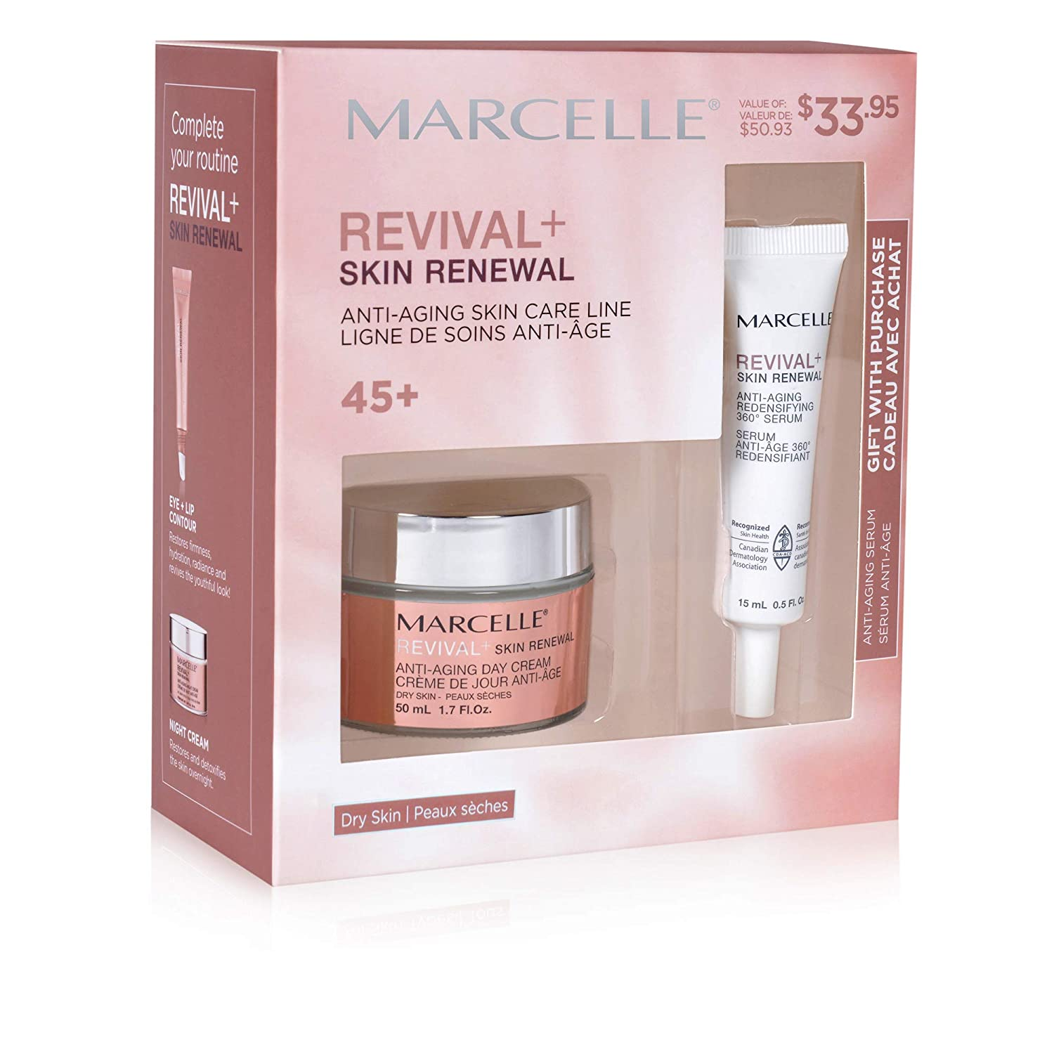Revival+ Skin Renewal Anti-Aging Day Cream - Dry Skin + Anti-Aging Redensifying 360° Serum Gift Set Marcelle
