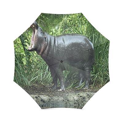 Custom Cute hippo cubs Compact Travel Windproof Rainproof Foldable Umbrella