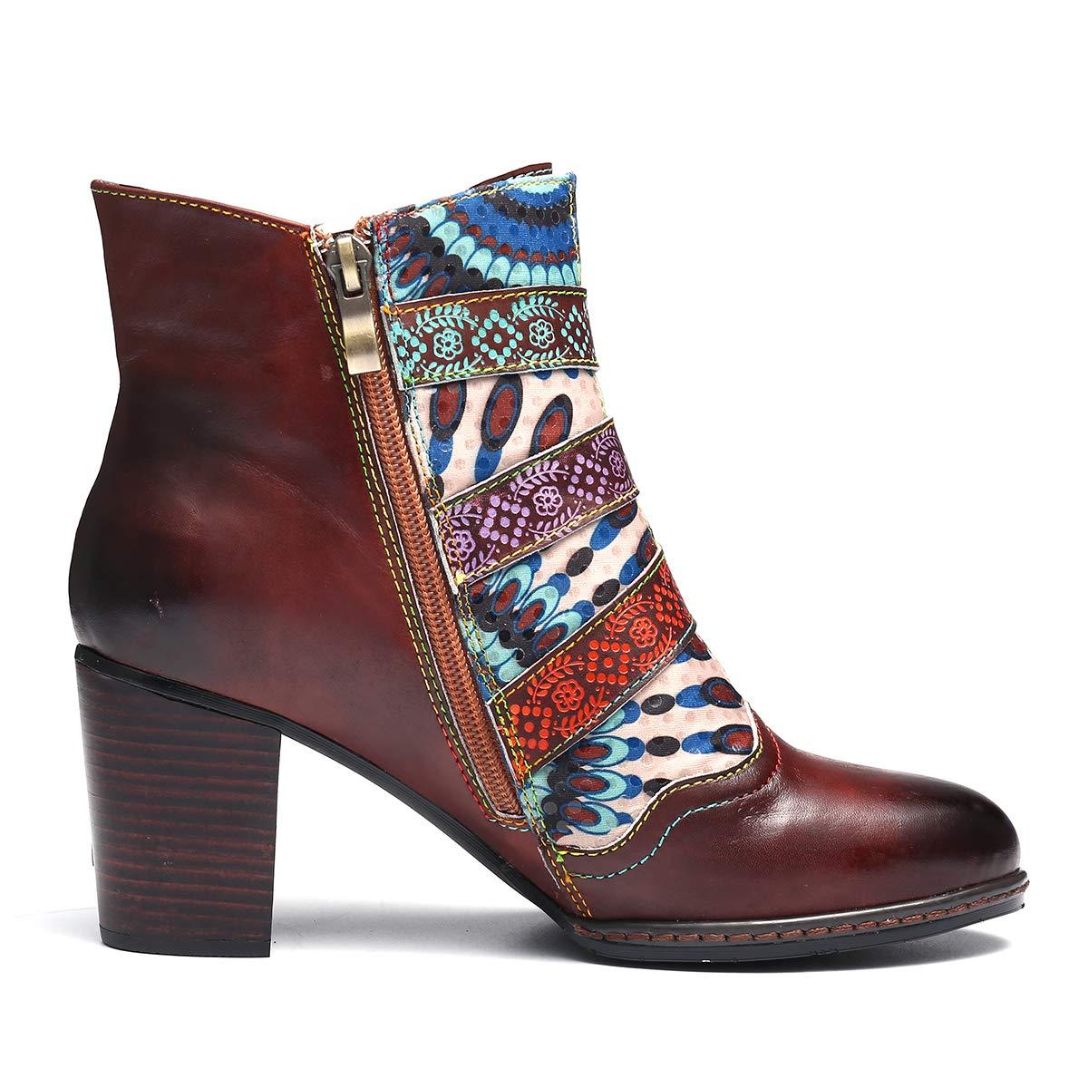 bfd2739a3ee58e Camfosy Bottines Talons Femmes, Bottes en Cuir Chaussures de Ville Hiver à  Talons Hauts Confortable Boots Bout Pointu Semelles Conforts Zip Design  Original ...