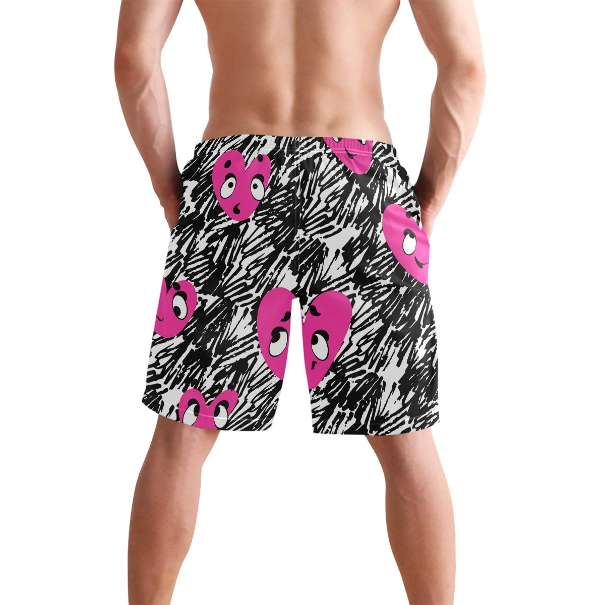KVMV Abstract Pattern of Colorful Donut Sprinkles Sweet Tast Quick Dry Beach Shorts