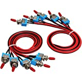 TEQStone Pre-wired Mini Toggle Switch On and Off Control for Car and Truk( Pack of 10).