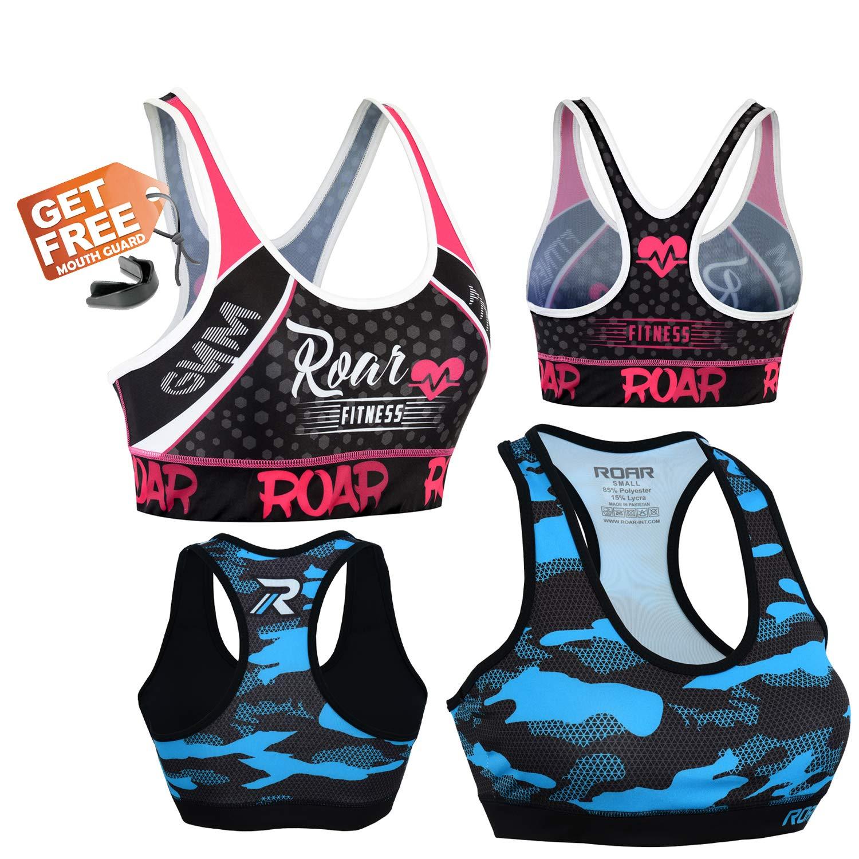 Roar No Gi Full Set Ladies Sports Bra BJJ Leggings MMA Shorts & Grappling Rash Guard Female Fight Wear (PF-Bra, XLarge) by ROAR-INT