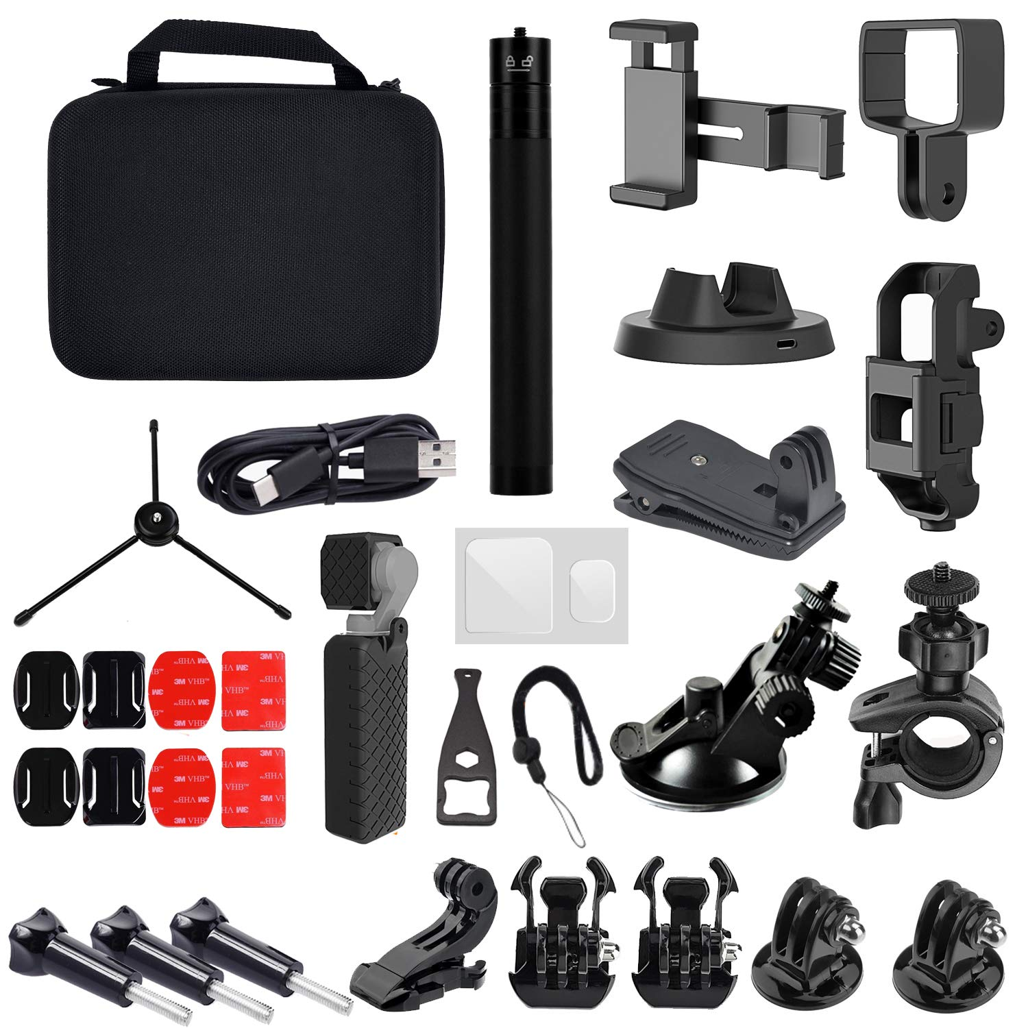 34-in-1 Expansion Accessories Kit for DJI Osmo Pocket, Selfie Stick,Tripod, Bracket,Adapter,Charging Base