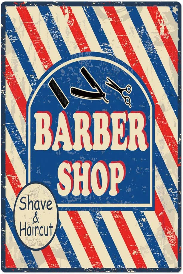 metal tin sign Barbershop Shave& Cut for Barbershop Garage Wall Decor Retro Vintage 7.87 X 11.8 inches