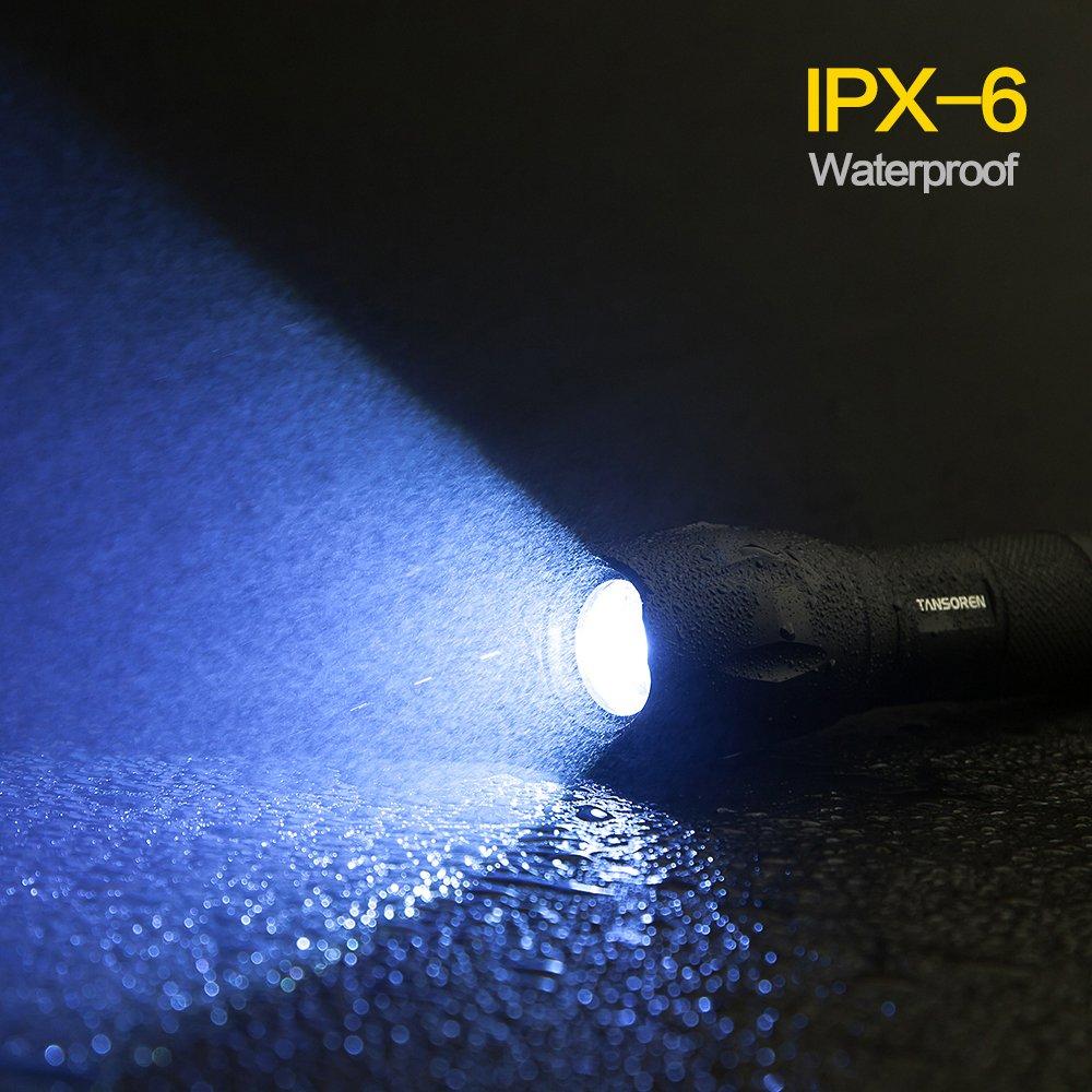 Linterna táctica LED TANSOREN, ultrabrillante, ultrabrillante, ultrabrillante, impermeable, portátil, 1000 lúmenes, con zoom, con batería recargable 18650 y cargador 12ef1f