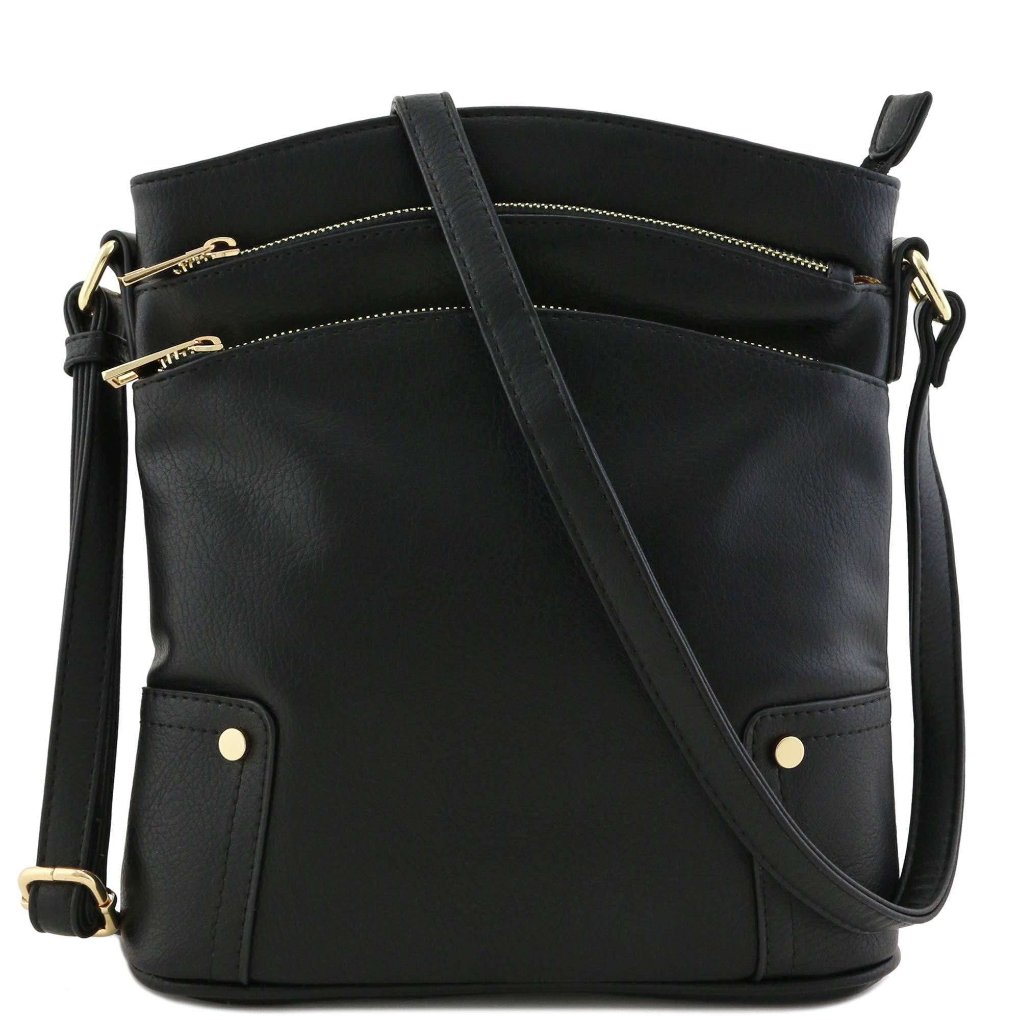 Triple Zip Pocket Large Crossbody Bag Black by Alyssa