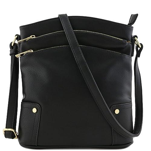 Amazon.com: Bolsa cruzado grande con triple bolsillo con ...