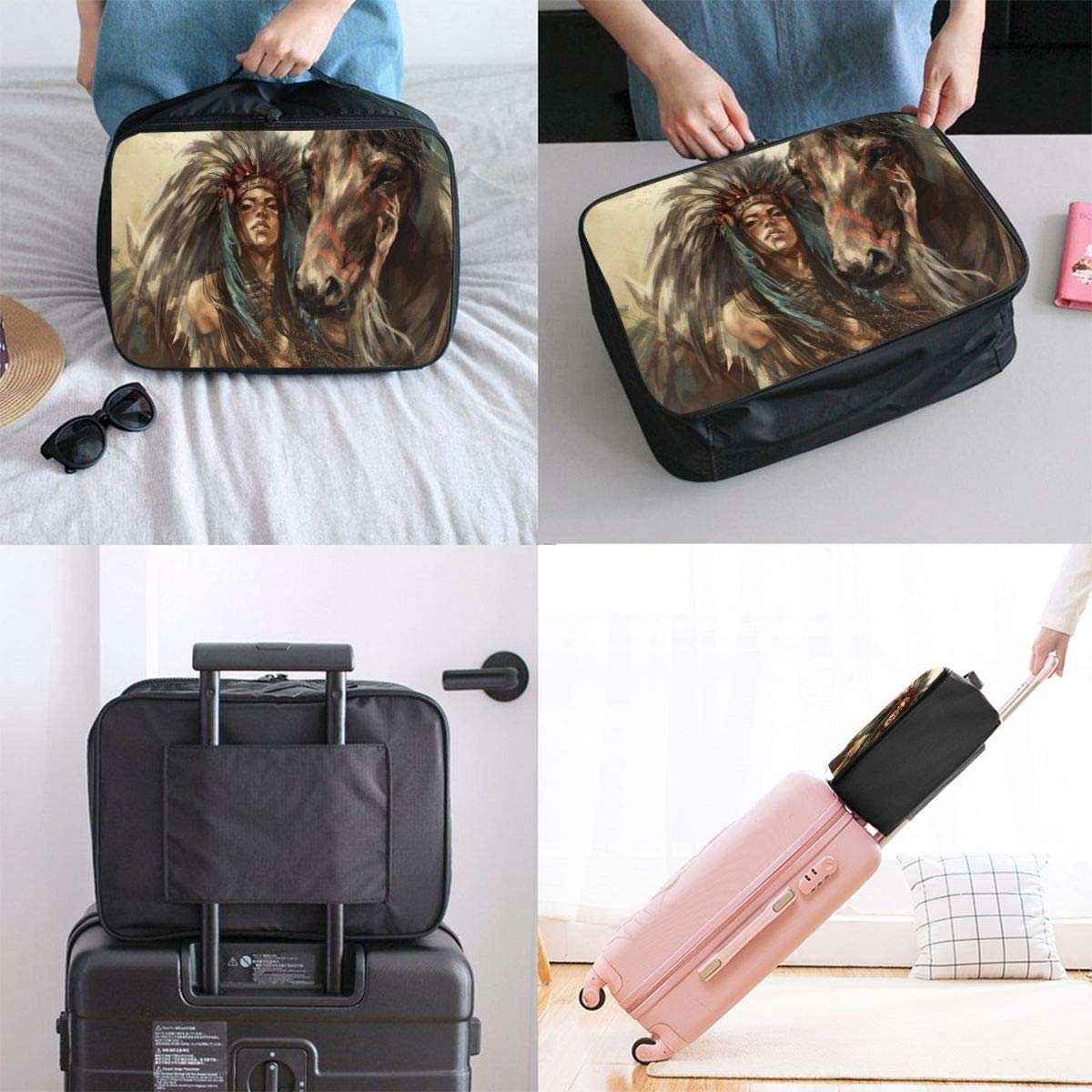 Native American Hunter And Horse Travel Lightweight Waterproof Folding Storage Carry Luggage Duffle Tote Bag Large Capacity In Trolley Handle Bags 6x11x15 Inch