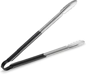 New Star Foodservice 35797 16-Inch Utility Spring Tongs, Stainless Steel, Vinyl Coated, Set of 12, Black