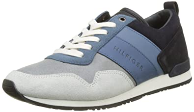Tommy Hilfiger Iconic Color Mix Runner, Sneakers Basses Homme, Bleu (Twilight-Jeans 904), 41 EU