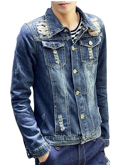 2205e64f05 GAGA Men Casual Ripped Denim Jacket Jeans Slim Fit Lapel Washed Trucker  Jacket Dart Blue XS