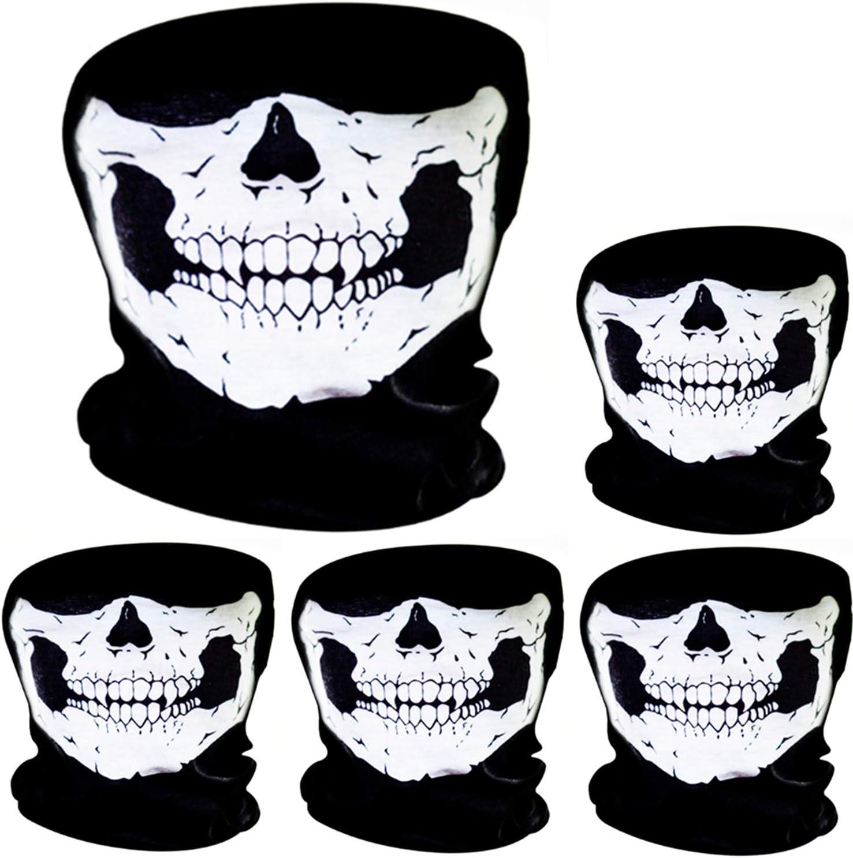 5 Piezas de Pasamontañas de Calavera Máscara Facial de Tubo de Poliéster de Motocicleta Bicicleta Bragas de Cabeza de Halloween