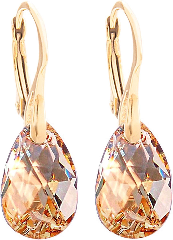 Pendientes de cristales Swarovski® en forma de pera, 16 mm, color dorado, para mujer,vermeil original:plata bañada en oro de 24 quilates,con sello 925. 3g de peso total