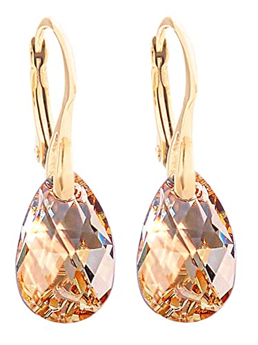 9f203cd123481 GIFT BOXED! Women's 16mm Golden Shadow Crystals From Swarovski® Drop Pear  Earrings. Genuine Vermeil: 24K Gold Over Sterling Silver. Stamped 925. 3gr  ...