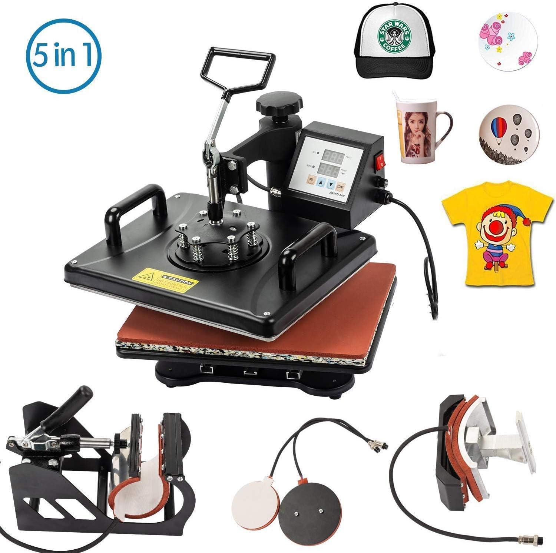 Display4top 5 en 1 Prensa de Calor Maquina de Prensa de Calor Sombrero/placa/gorra/camiseta multifunción bricolaje prensa de calor,29 x 38cm,Rotación de 360°