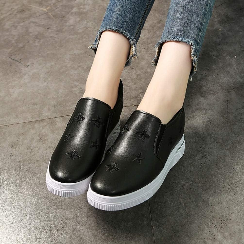 Scarpe da Donna con Zeppa Ricamo di Moda Impermeabile PU Slip su Piattaforma Scarpe Singole Tacco Nascosto 7,5 cm Scarpe Bianche Casual da Donna Nero