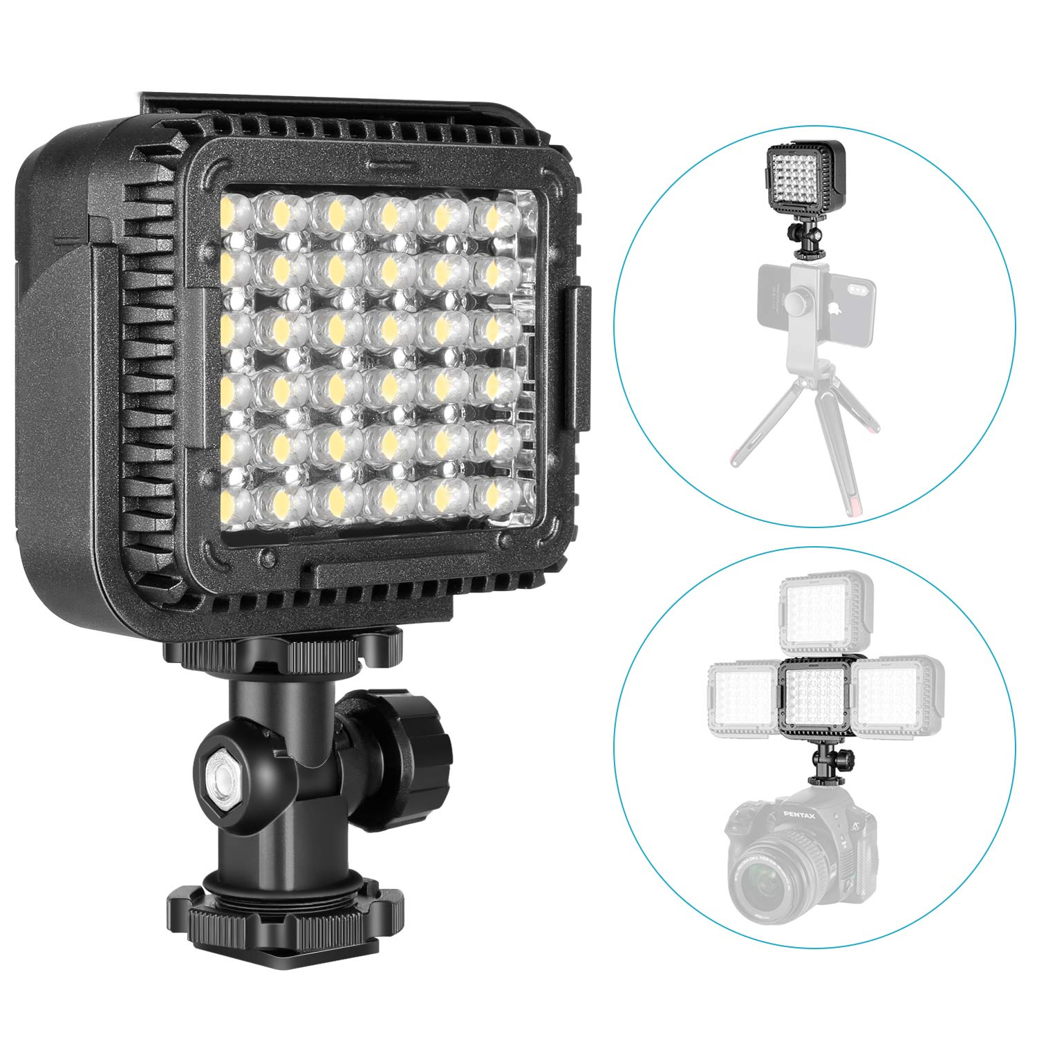 Neewer Ultra Bright Mini LED Video Light - 36 Dimmable High Power LED Panel Video Light Compatible with DJI Ronin-S OSMO Mobile 2 Zhiyun WEEBILL Smooth 4 Gimbal Canon Nikon Sony DSLR Cameras etc by Neewer
