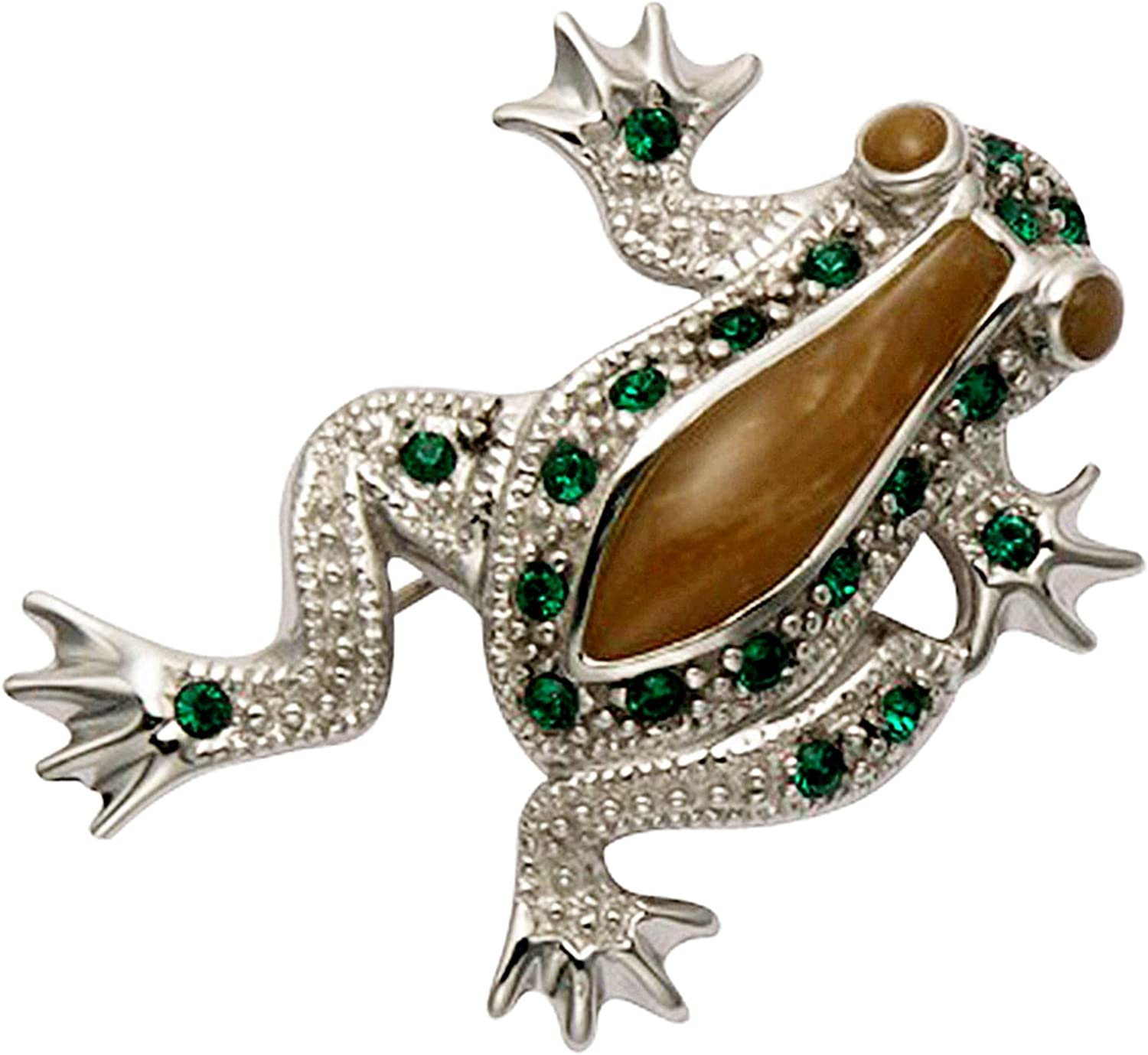 Wildthings Ltd. Sterling Silver Enamel Inlaid Climbing Tree Frog Pin w/Green Crystal Stones 71JxDYa2UbLUL1500_
